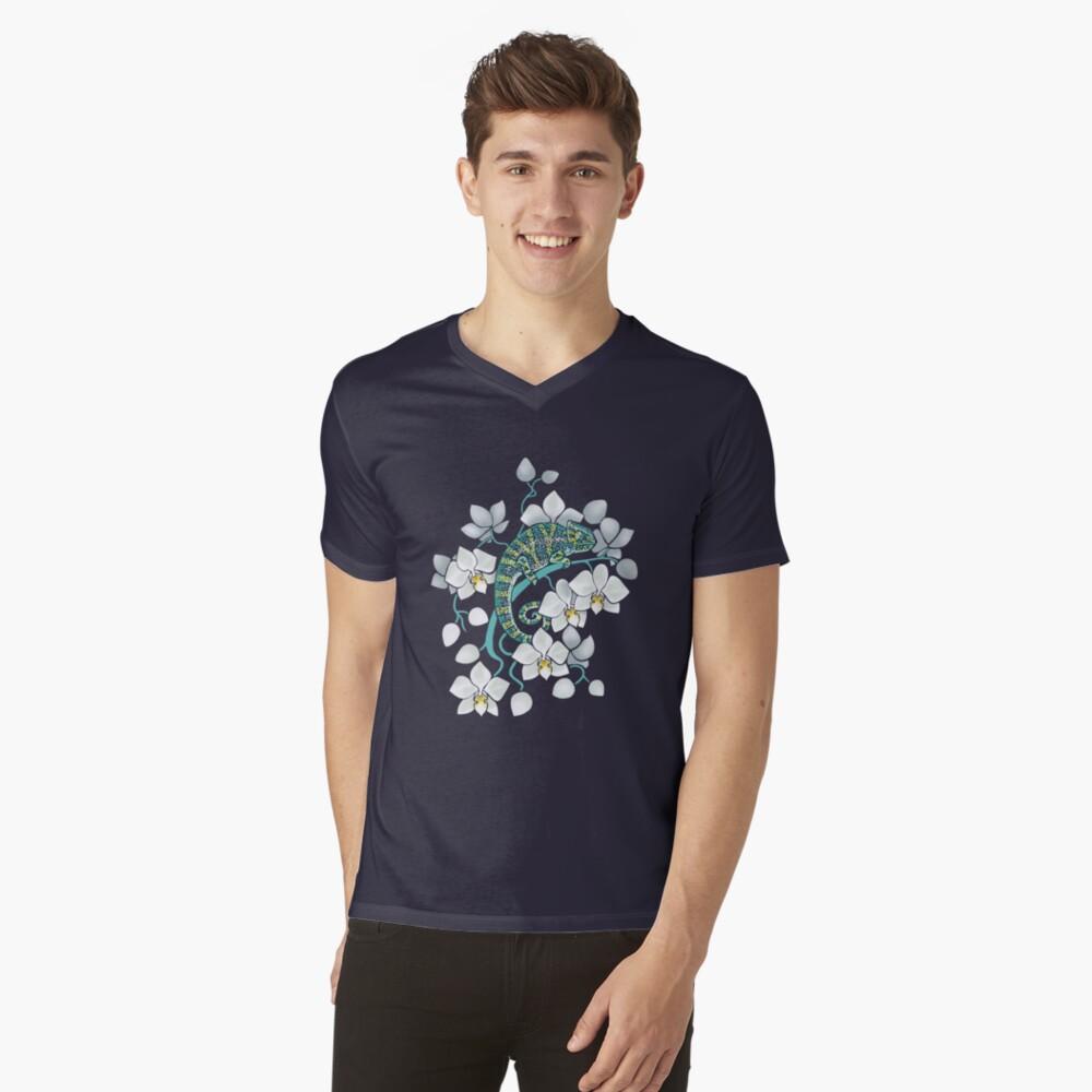 Chamäleons und Orchideen T-Shirt mit V-Ausschnitt