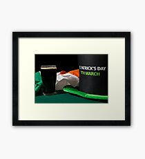 Closeup of St Patrick day with a pint of black beer, hat and irish flag Framed Print