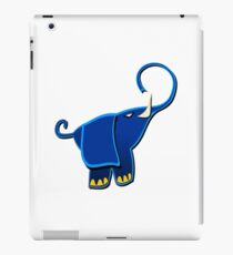 Cute Funny Elephant - Blue Cartoon Animal Character Drawing  iPad Case/Skin