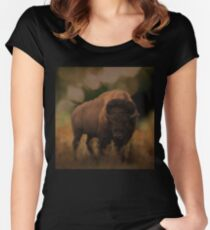 Big Awesome Bison Women's Fitted Scoop T-Shirt