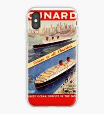Cunard Vintage Travel Poster Restored iPhone Case