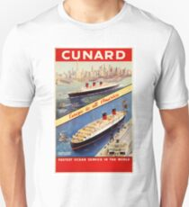 Cunard Vintage Travel Poster Restored T-Shirt
