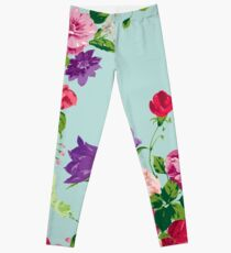 Shabby chic,turqouise,pink,red purple,green,flowers,carnations,roses,peonies Leggings