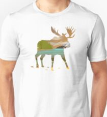 Moose Double Exposed to Happy Nature Scene Unisex T-Shirt