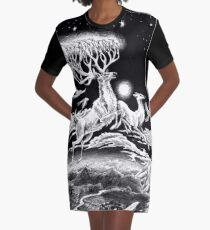 Reindeer Midnight Flight Graphic T-Shirt Dress