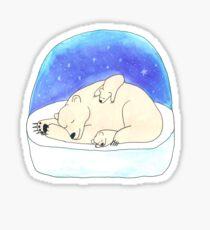 Mama polar bear with her cubs Sticker