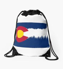 Colorado Flag Treeline Silhouette Drawstring Bag