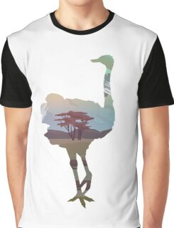 Ostrich Wandering in Nature : Double Exposed Into the Wild Graphic T-Shirt