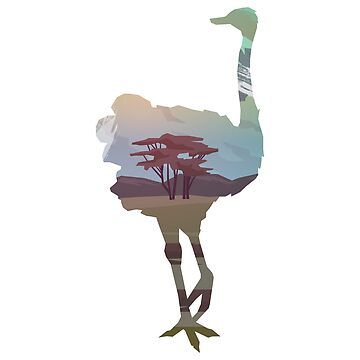 Ostrich Wandering in Nature : Double Exposed Into the Wild by mellow-threads