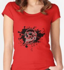 Red Glow Skull Women's Fitted Scoop T-Shirt