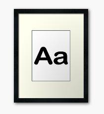 Aa Initial, Letter, Alphabet Framed Print