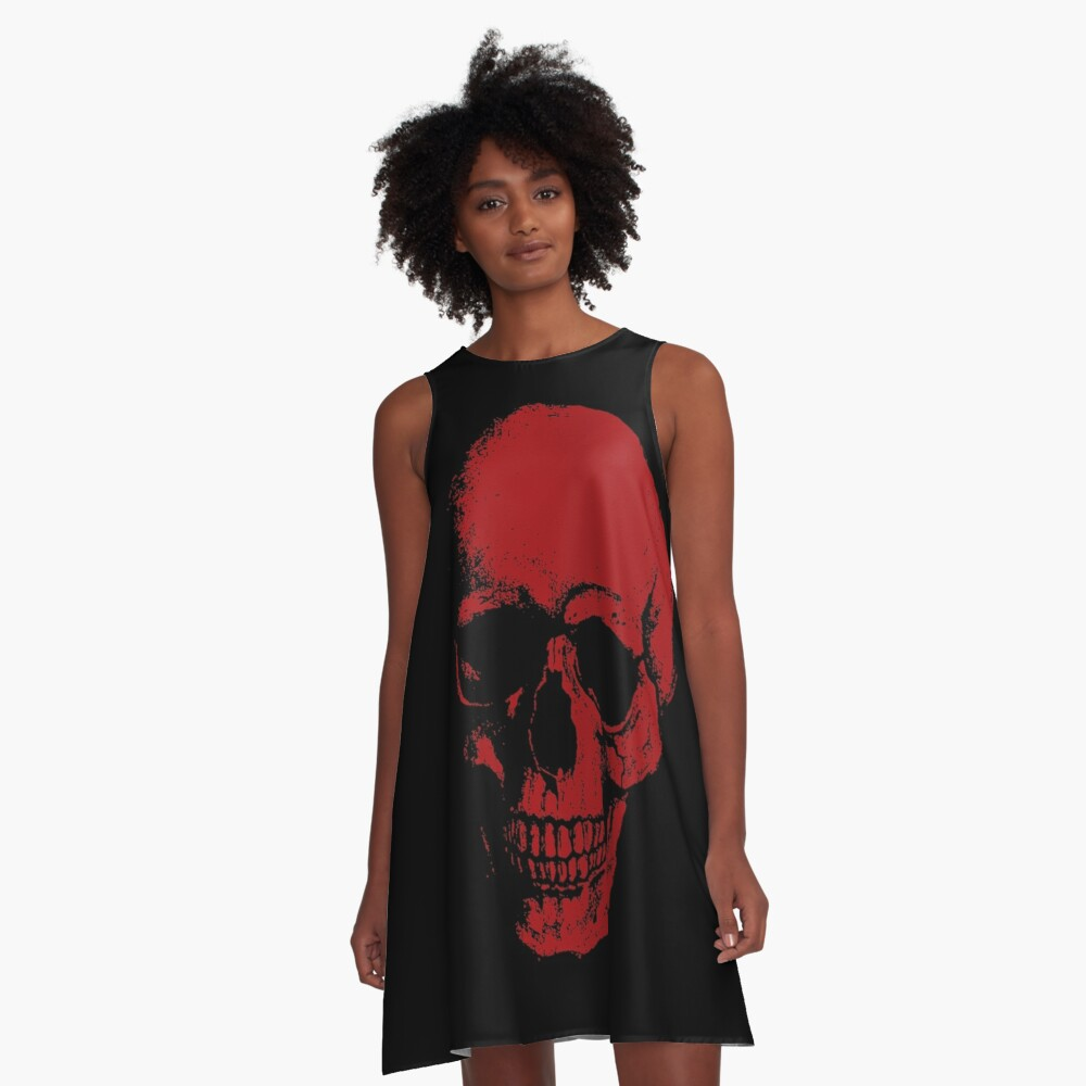 Skull - RED A-Line Dress Front