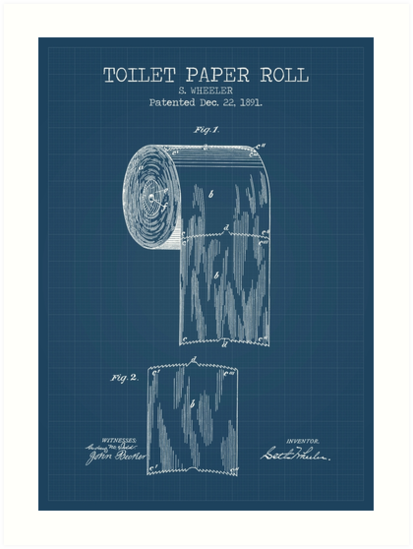 Toilet paper roll blueprint art prints by muharko redbubble toilet paper roll blueprint by muharko malvernweather Gallery