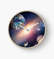 Planets Solar System - Earth Sun Saturn Milky Way  Clock
