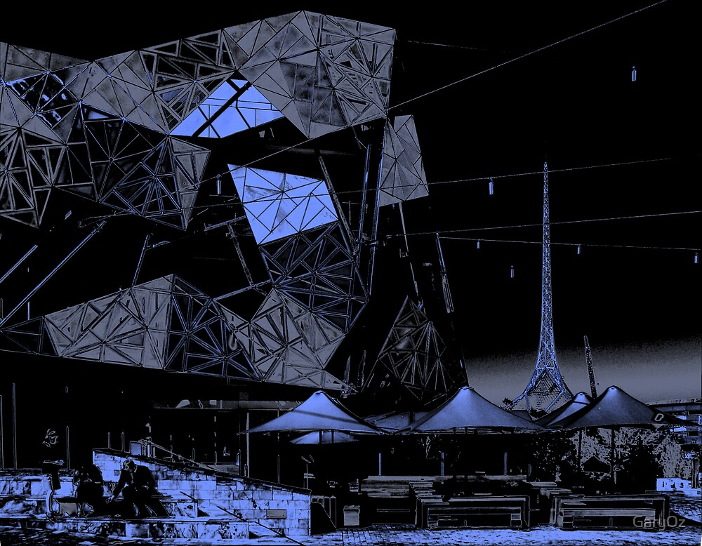Melbourne's Federation Square and Art Centre spire by GaryOz