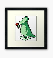 Cute Funny Cartoon Dino Holding A Flower Character Doodle Animal Drawing  Framed Print