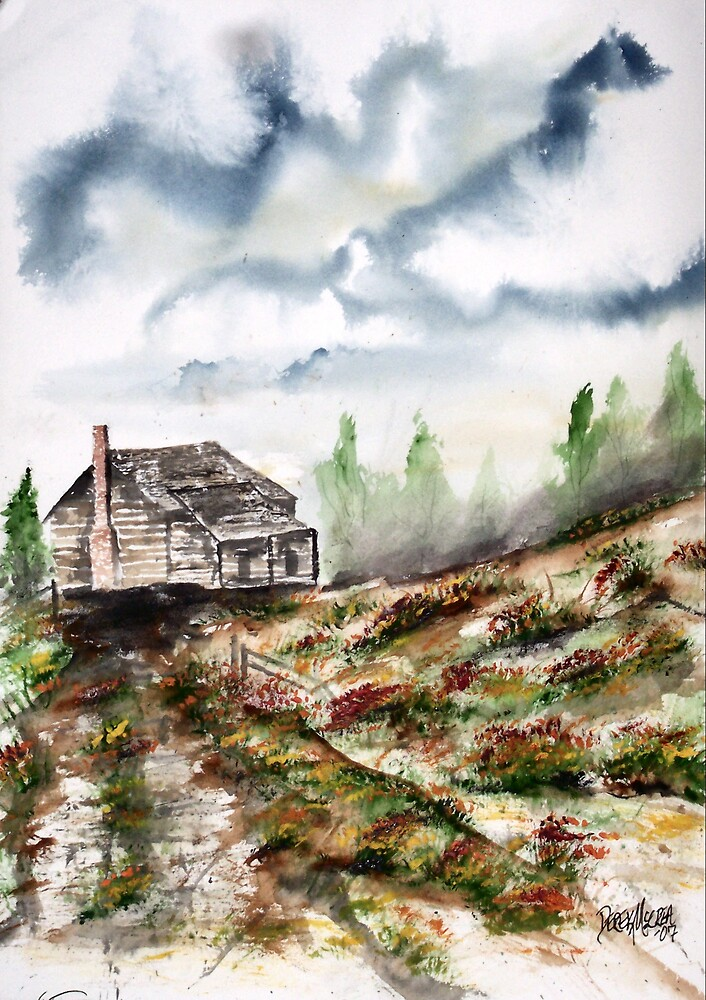 Barn and Flowers Watercolor Fine Art Print by derekmccrea