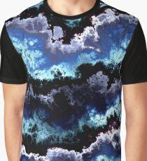Blue shining clouds marbled pattern - retro paint splash Graphic T-Shirt