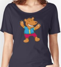 Cute Funny Cartoon Silly Teddy Bear Character Doodle Animal Drawing  Women's Relaxed Fit T-Shirt
