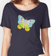 Cute Funny Cartoon Flying Colorful Butterfly  Character Doodle Animal Drawing Women's Relaxed Fit T-Shirt