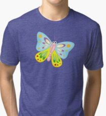 Cute Funny Cartoon Flying Colorful Butterfly  Character Doodle Animal Drawing Tri-blend T-Shirt