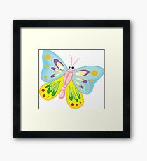 Cute Funny Cartoon Flying Colorful Butterfly  Character Doodle Animal Drawing Framed Print