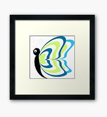Cute Funny Cartoon Colorful Butterfly Character Doodle Animal Drawing Framed Print