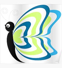 Cute Funny Cartoon Colorful Butterfly Character Doodle Animal Drawing Poster