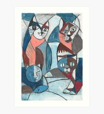4 crazy cats cubist painting print drawing best gift Art Print