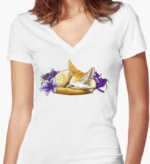 Fennec Fox Nap Women's Fitted V-Neck T-Shirt