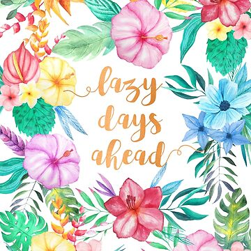 Pink Floral Watercolor Pattern - Lazy Days Ahead by AbigailVigh