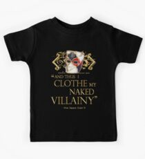 Shakespeare's Richard III Naked Villainy Quote Kids Tee