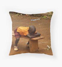 Child sleeping at School Throw Pillow
