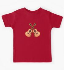 Double acoustic Guitar heart Kids Clothes