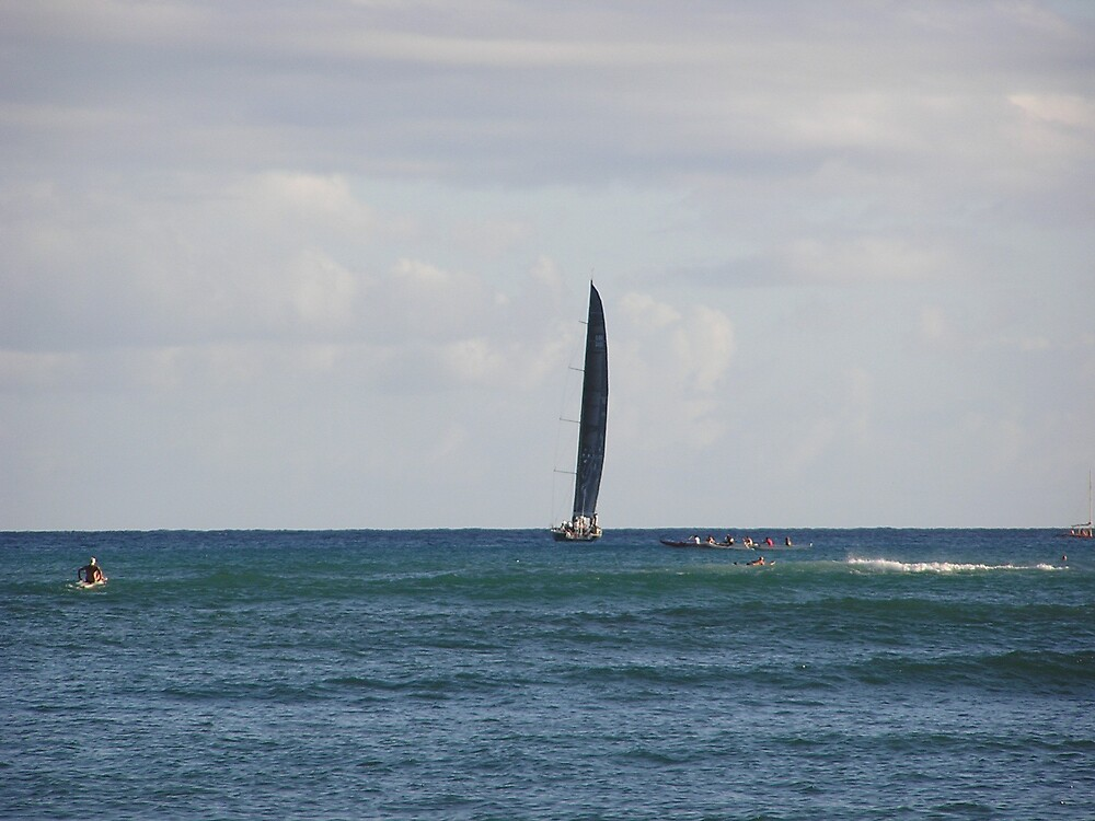Surf, Canoe and Sailboat by stacey25