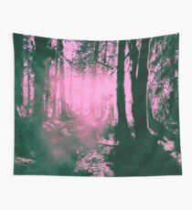 Sunset on Tree in the Hoh Rainforest - Travel Sunset Forest Nature Trees sun hiking adventure Pink Wall Tapestry