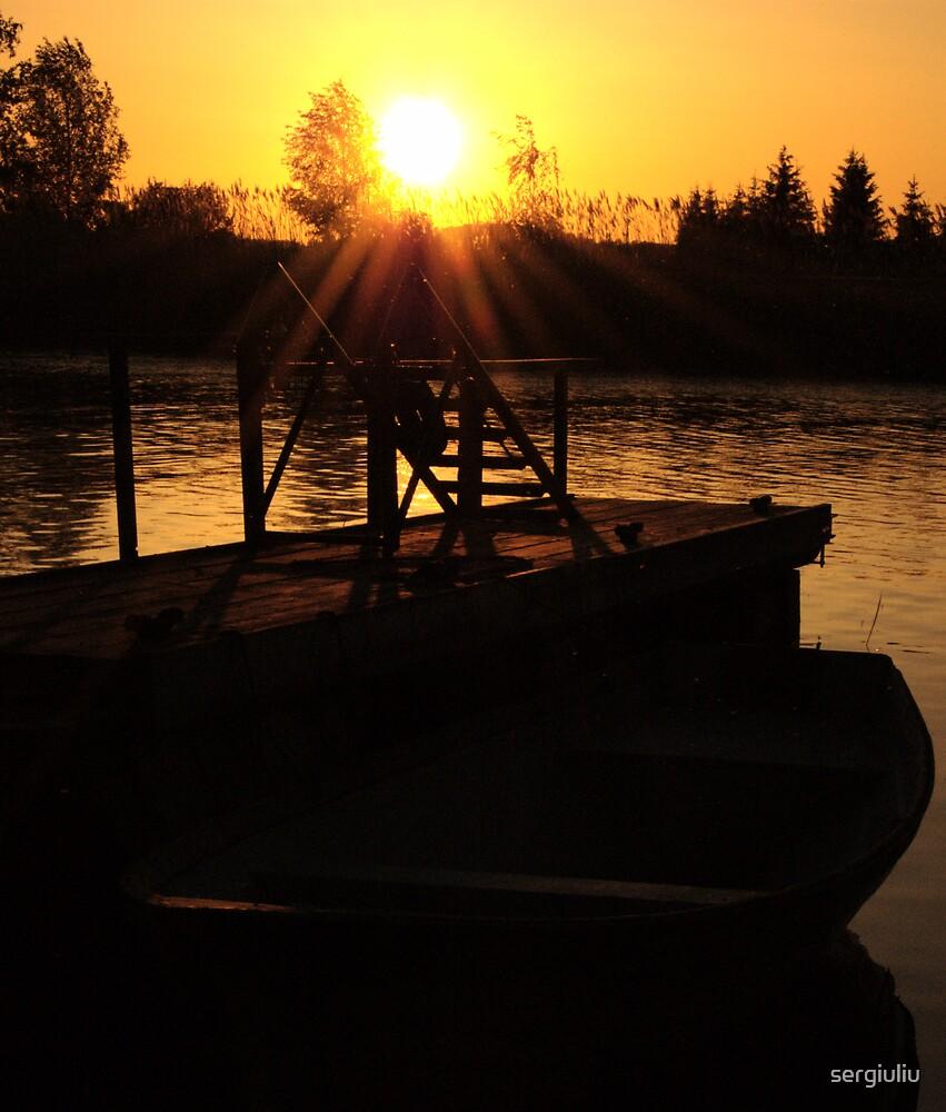 boat at sunset by sergiuliu