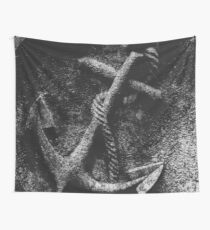 Nautical Rope & Anchor Navy black and white carved vintage sailor ocean beach  Wall Tapestry