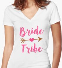 Bride Tribe Bridesmaid women's tank shirt  Women's Fitted V-Neck T-Shirt