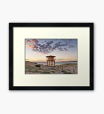 Lifeguard tower at the beach with pretty sunrise Framed Print