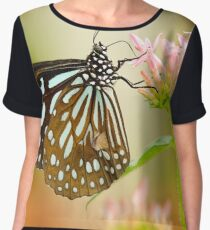 Striped butterfly on yellow lily flower  Chiffon Top