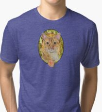 Abyssinian cat and Rose Tri-blend T-Shirt