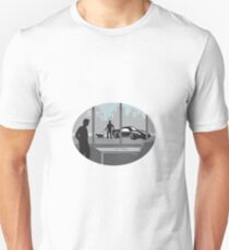 Office Worker Looking Through Window Oval Woodcut Unisex T-Shirt