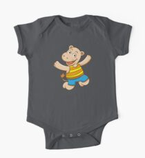 Cute Funny Cartoon Silly Jumping Happy Smiling Hippo Character Doodle Animal Drawing One Piece - Short Sleeve