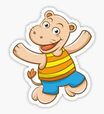 Cute Funny Cartoon Silly Jumping Happy Smiling Hippo Character Doodle Animal Drawing Sticker