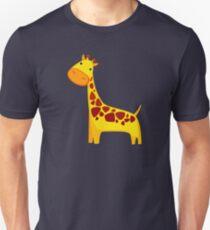 Funny Cartoon Yellow Cute Giraffe Character Doodle Animal Drawing Unisex T-Shirt