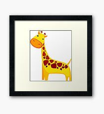 Funny Cartoon Yellow Cute Giraffe Character Doodle Animal Drawing Framed Print