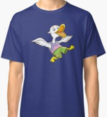 Cute Funny Cartoon Silly Happy Teen Duck Jumping Character Doodle Animal Drawing Classic T-Shirt