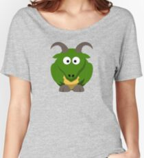 Cute Funny Cartoon Green Dragon Character Doodle Animal Drawing Women's Relaxed Fit T-Shirt