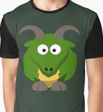 Cute Funny Cartoon Green Dragon Character Doodle Animal Drawing Graphic T-Shirt